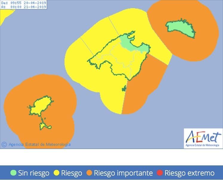 Wegen hoher Wellen und stürmischer Böen herrscht in weiten Teilen Mallorcas Warnstufe Gelb.