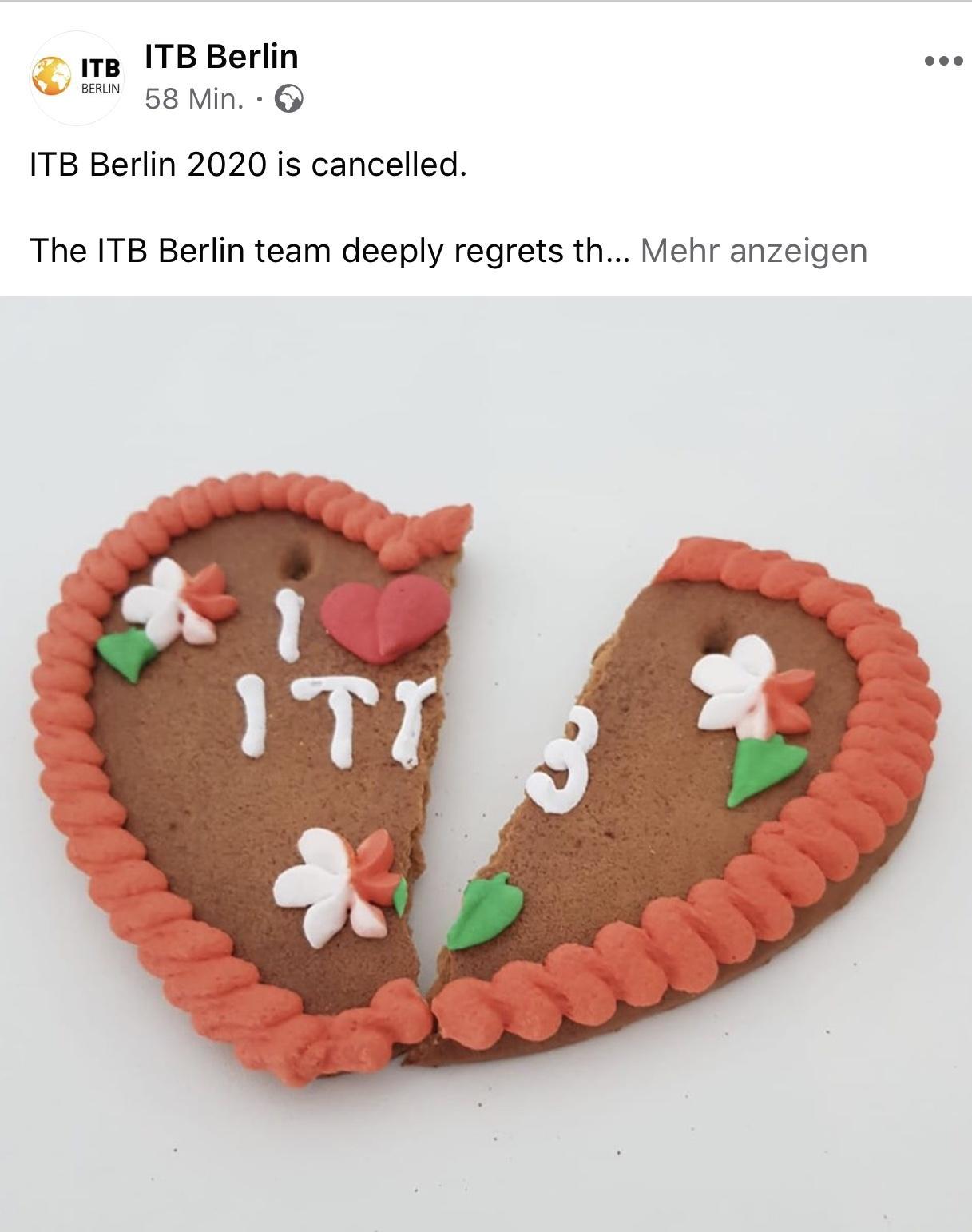 So teilten die ITB-Verantwortlichen die Messe-Absage für 2020 auf Facebook mit.