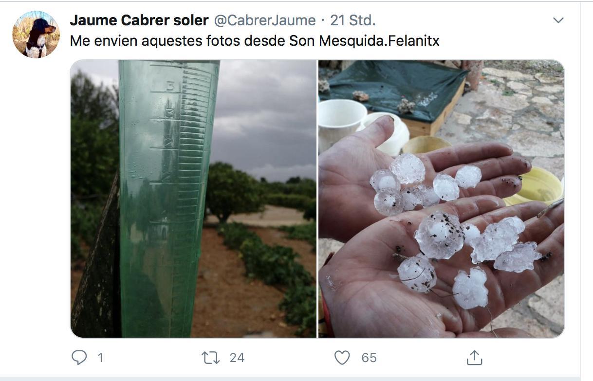 Diese Bilder von Hagelkörnern posteten Bewohner auf Mallorca im sozialen Netzwerk Twitter am Sonntag.