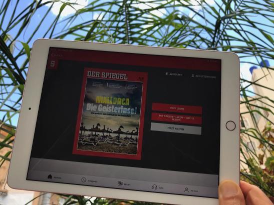 """Die Titelseite des aktuellen """"Spiegels"""", gelesen im iPad auf Mallorca."""