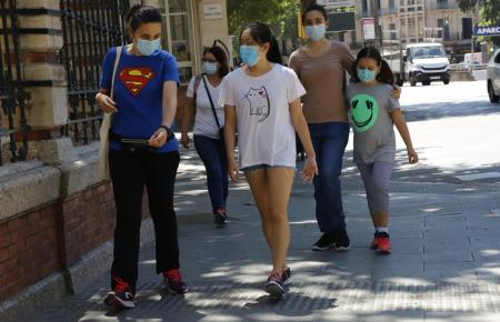 Maskenträger in Palma de Mallorca.