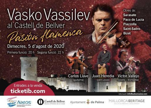 """Der berühmte Geiger Vasko Vassilev kehrt zurück mit dem Programm """"Passión flamenca"""" im Schloss Bellver."""