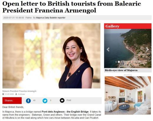 """Über das """"Majorca Daily Bulletin"""" wandte sich Ministerpräsidentin Armengol (Foto) direkt an die Urlauber aus Großbritannien."""