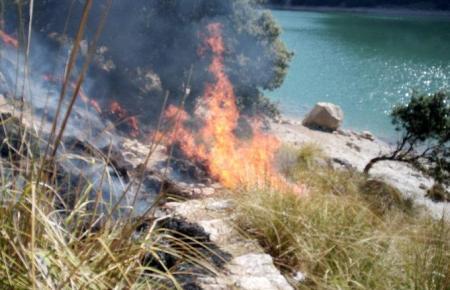 Die Flammen loderten zeitweise hoch.