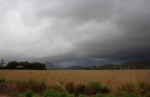 Regenwolken über einem Feld.