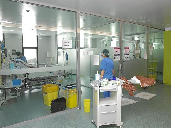 Blick in die Corona-Abteilung des Krankenhauses Son Espases.
