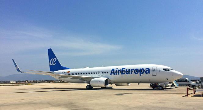 Jet von Air Europa auf dem Flughafen von Palma de Mallorca.