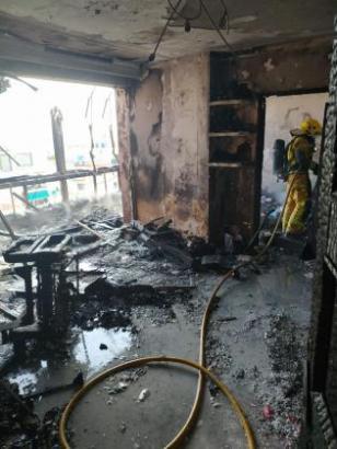 Die ausgebrannte Wohnung.