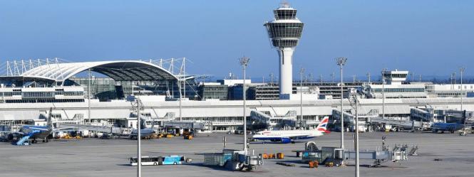 Blick auf den Flughafen München.