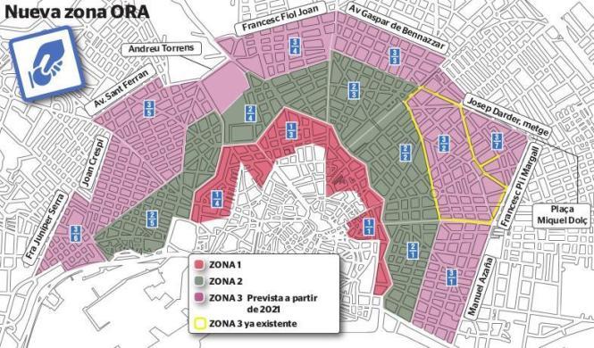Die rosafarbene Zone kommt neu hinzu.