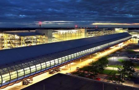 Blick auf den Flughafen Leipzig.