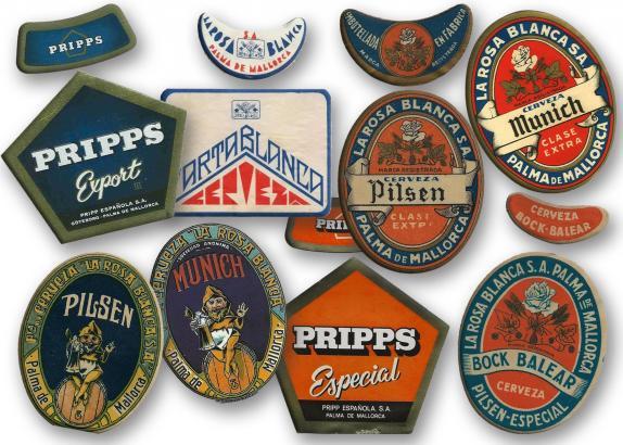 Pripps und Rosa Blanca sind die bekanntesten der einst auf Mallorca gebrauten Biermarken. Die Bandbreite der verschiedenen Sorten war enorm, wie die Etiketten verraten, die allesamt aus der Sammlung von Juan Oliver stammen.