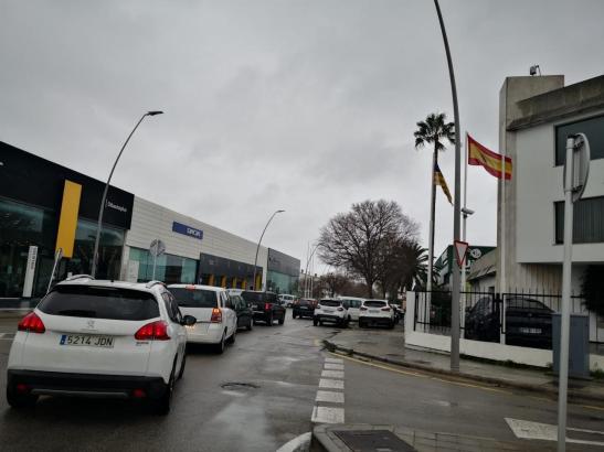 Am Industriegebiet Son Castelló stockt derzeit der Verkehr.