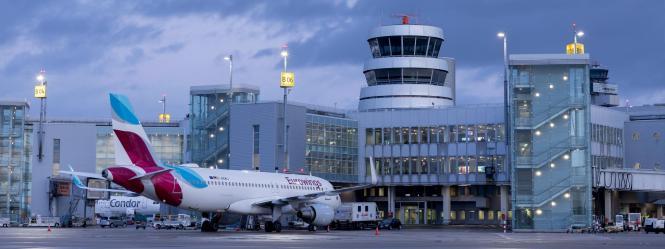 Blick auf den Flughafen Düsseldorf.