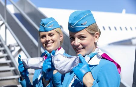 Auch für die Flugbegleiterinnen und Flugbegleiter von Eurowings gilt ab 1. Februar die Pflicht zum Tragen einer medizinischen Maske.