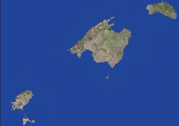 Mallorca und die Nachbarinseln vom Weltall aus gesehen.