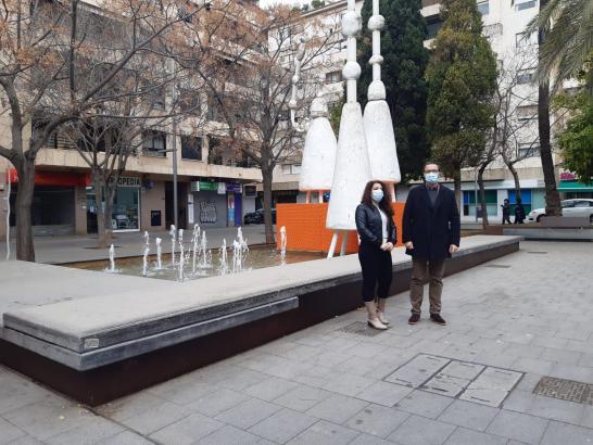 Der Springbrunnen an der Plaça Paris in Palma.