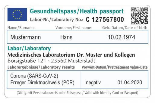 So könnte ein europäischer Gesundheits- oder Impf-Reisepass aussehen.