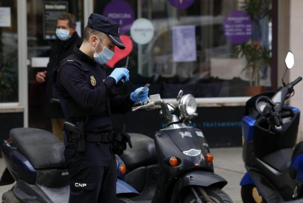 Spanischer Nationalpolizist im Einsatz.