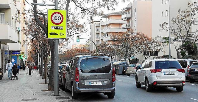 Warnung vor Radarüberwachung im Zentrum von Palma.