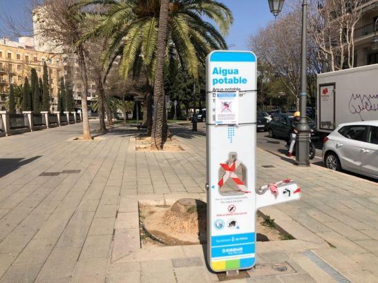 Ein Wasserspender in Palma: Die Stadtwerke werben für ihren Gebrauch.