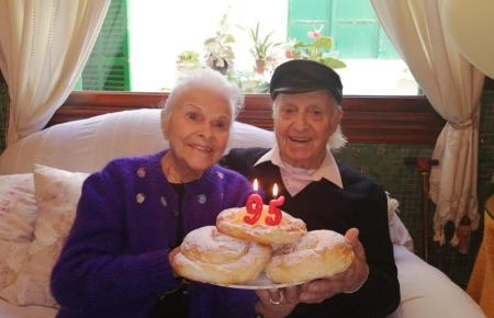 Am 95. Geburtstag: Guillem Timoner mit seiner Frau Francisca.
