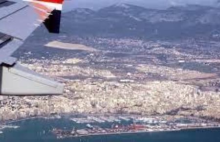 Blick auf Palma aus einem Flugzeug.