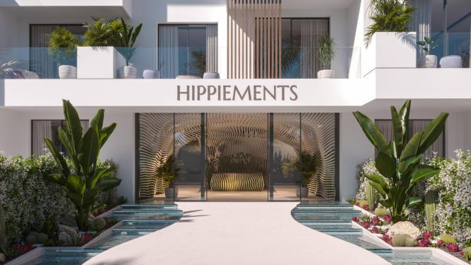 Eingangsbereich des neuen Apartmentgebäudes Hippiements in Ibiza