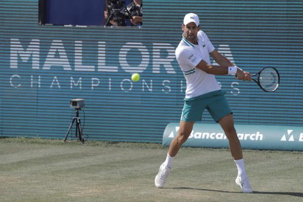 Novak Djokovic auf dem Rasen des Mallorca Country Clubs.