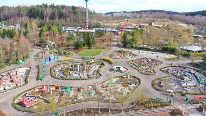 Luftbild vom Legoland in Günzburg.