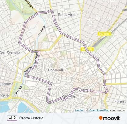 Diese Strecke fahren die Busse der Linie 2.