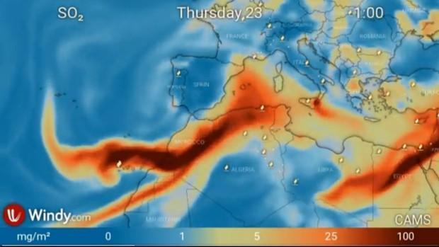 Die Gase des Vulkans breiten sich derzeit aus.
