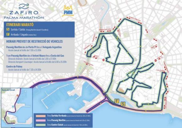 Eine Übersicht der Sperrungen wegen des Palma-Marathons
