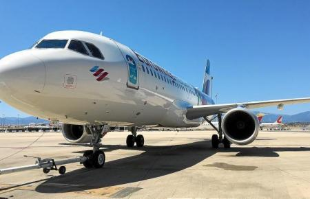 Eurowings-Jet auf dem Flugfeld von Palma.