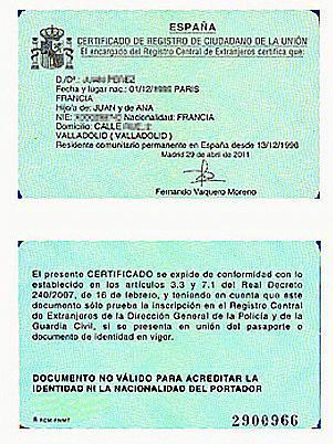 Nuevo certificado de registro de ciudadano de la Unión Europea  Nue