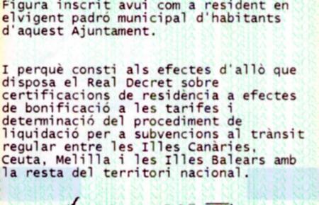 Eine Meldebescheinigung des Rathauses von Palma.