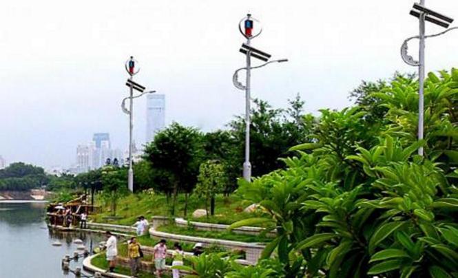 Windkrafträder in einem Stadtpark in China sollen als Vorbild für Palma dienen.