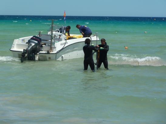 Experten bei der Installation der Ökobojen an der Playa de Muro.