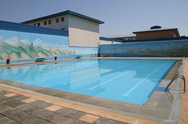 Innenhof des Gefängnisses in Palma: Bislang durften die Insassen das Schwimmbad hier in den Sommermonaten nutzen.