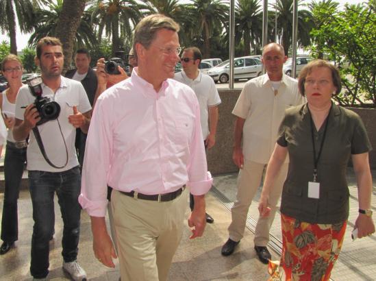 Außenminister Guido Westerwelle bei seinem letzten öffentlichen Auftritt auf Mallorca.