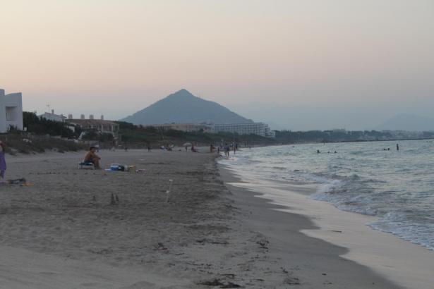 Die Playa de Muro. Viele Hotelgrundstücke reichen bis an den Strand.