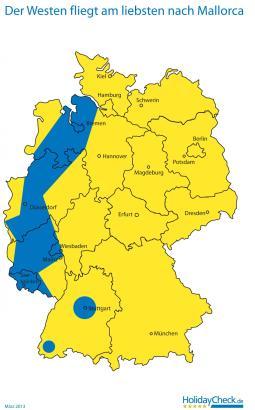 Der blaue Bereich zeigt an, wo in Deutschland am stärksten Mallorca gebucht wird.