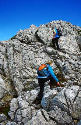 Zwischendurch wird die Bergwanderung zur Kletterpartie.