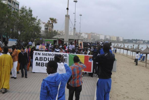 Demonstration an der Playa de Palma.