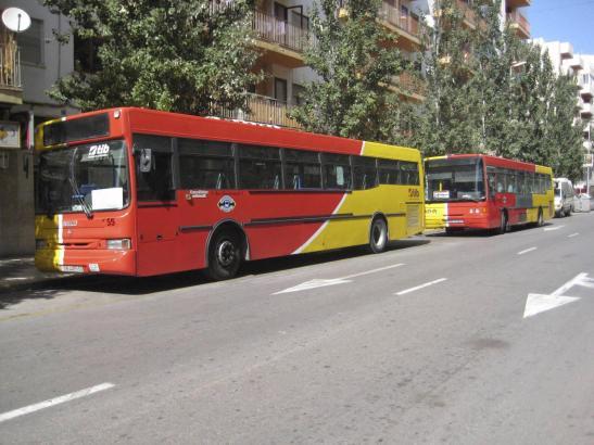 Die Überlandbusse der Balearen (TIB) tragen auffällige Rot- und Gelbtöne.