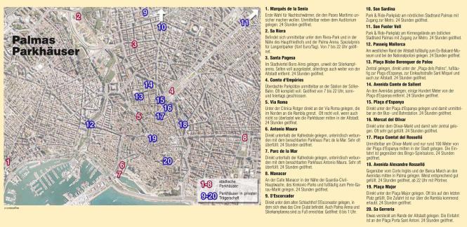 Übersicht über Palmas Parkhäuser.