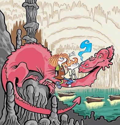 """""""Drac"""", der Drache aus der Drachenhöhle, schließt mit Mariona und Max Freundschaft."""