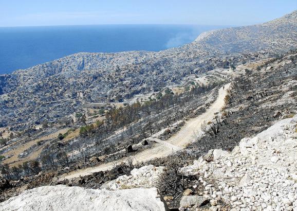 Das Gebiet beim ehemaligen Kloster Sa Trapa bei S'Arracó wurde zu 70 Prozent von den Flammen zerstört.