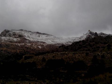 Am Freitagmorgen war der 1445 Meter hohe Puig Major weiß gepudert.