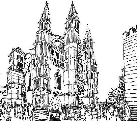 Die Kathedrale per Speed-Bleistift gezeichnet.